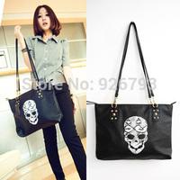 xmas gift bag Bags 2013 autumn and winter women's handbag rivet women's tassel handbag black skull messenger  large
