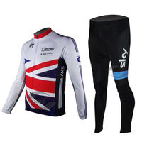 Free Shipping Team cycling Long Sleeves Jersey+Trousers sets SKY New style in 2013 White+Red+Blue 225