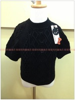 Autumn black gowns, 2013 short-sleeve shirt batwing cashmere blending 6810