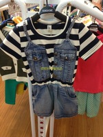 2013 female child stripe short-sleeve t-shirt patchwork denim skirt slim waist one-piece dress