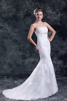 Gender Mermaid Strapless Beadings Appliques Brush Train White Tulle Wedding Dress