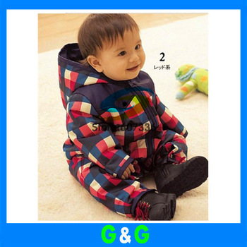 Wholesale Baby hoody romper Autumn&Winter Kids casual plaid clothing sets Baby Gilrs&Boys Hoody long sleeve romper free shipping