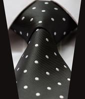 "TD1004L8 Black White  Polka Dot  100% Silk 3.4""  New Jacquard Woven Classic Man's Tie Necktie"