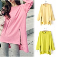 New Loose Asymmetric Hem Candy Colore Long Sleeve Sweatshirt Waist Two Side Zipper WF-48586