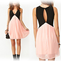 New Collision Color Stitching Back Hollow Deep V-neck Sleeveless Chiffon Vest Dress WF-48578