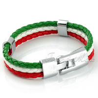 Italy Flag Style Rope Surfer Leather Bracelet Wristband  Wholesale Fashion Unisex MENS Womens Leather Bracelet  LB141