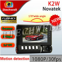 2013 hot sale!K2W super-mini Full HD car DVR 1080P lights 2.7 inch LCD car recorder camera very small and thin size