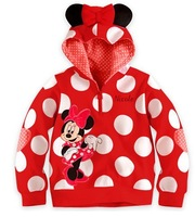 Hot!Free Shipping 5 pcs/lot Girl Lovely Minnie Dot Coat,Bow Patch Hoodie,Red And Pink Color Sweatshirt,Wholesale