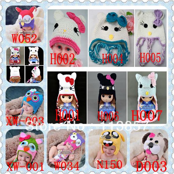 hand knitted animal crochet baby hat acrylic beanie winter hat(China (Mainland))