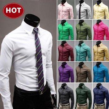 2014 Mens Slim fit Unique neckline stylish Dress long Sleeve Shirts Mens dress shirts 17colors , all size