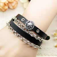 Fashion accessories fashion punk male women's long design leather bracelet multi-layer winding