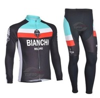 Free Shipping Team cycling Long Sleeves Jersey+Trousers sets Bianchi New style in 2013 Black 232