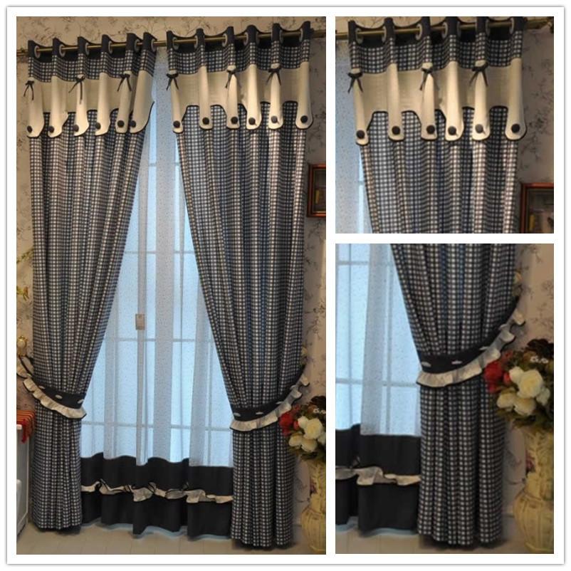 Tela da cortina azul criança pequena pano grade cortina reais(China (Mainland))
