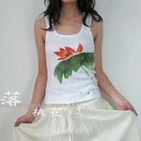 Middot . recoverability - hand painting t-shirt female vest chinese style ink painting national trend