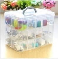 Free Shipping 3 Layers 30 Lattices Plastic Storage Box Storage Box Transparent Large Storage Box Jewelry Box