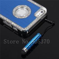 Blue Luxury Bling Crystal Diamond Chrome Hard Case For iPhone 5 5G +Stylus