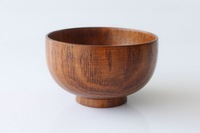 FREE Shipping Wooden tableware natural bassie anti-hot slip-resistant bowl soup bowl