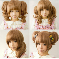Light Brown Heat Friendly Clip on 2 Ponytails Wavy Hair Wig/Lolita Cosplay Wig