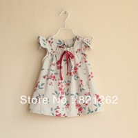 new arrival brand summer children clothing girls fashion sleeveless dress 3T-8T high quality printed flower