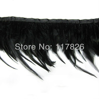 Free shipping 1Yard/lot Dyed Black Chicken Feathers Ribbon 3-5inches/8-13cm For Dresses/Hats/Crafts JY15