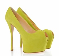 New fashion brand suede ladies wedding shoes sexy peep toe women's platform pumps high heels shoes for woman big size 4-11