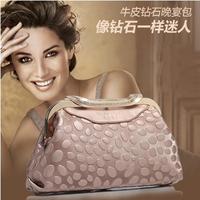 2013 New HIGH QUALITY Evening Party Women Messenger Bags BRAND Women Handbags Women Cowhide Leather Chain Diamond Clutch Wallets