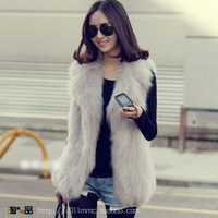 Free shipping, 2013 women's fur coat long suit turn-down collar medium-long women's faux fur vest jacket