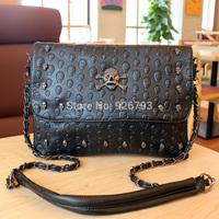 xams gift PUNK bag Bag 2014 women's handbag fashion punk skull  messenger  chain small bags