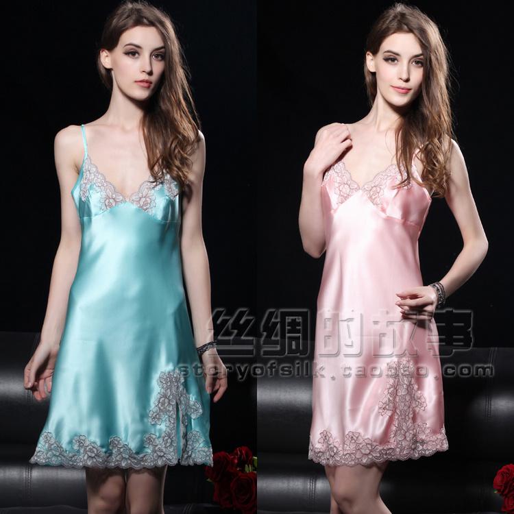 sexy silk nighties Silk mulberry silk laciness spaghetti strap nightgown d8033(China (Mainland))