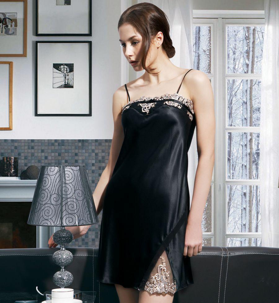 sexy silk nighties Mulberry silk pure silk women's spaghetti strap sexy nightgown 2144(China (Mainland))