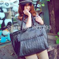 xams gift PUNK bag 2014 big bags fashion skull print fashion rivet handbag one shoulder women's handbag