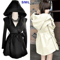 Q405 New Fashion Women Ladies Large Lapel Hooded Hoodie Tunic Belt  Bow Autumn Tunic Outerwear Trench Coat Hip Long Black Beige
