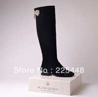 free shipping 2013 sexy genuine leather knee-length boots fashion high-leg boots flat boots women's ladies' shoes boots