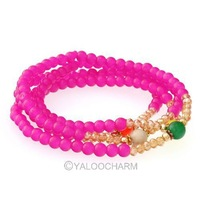 1pcs Fashion Beautiful Rose Flower Crystal Glass Cluster Elasticated Bracelet 4mm Beads 3 Colors 261854-261856