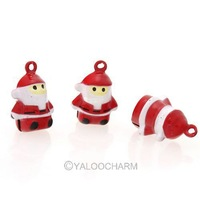 New 5 pcs Charms Bell Pendant Santa Claus 23mm Fit Keychain Cute 141583