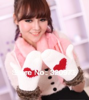 1pair/lot 2013 Winter New Arrivals Fashion Women Warm knitting yarn warm sweet hearts gloves Free Shiiping Factory Pirce