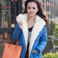 2013 thickening clothing outerwear large fur collar medium-long slim down coat female Women's down jacket