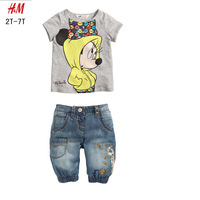 Free Shipping(6set/lot) Brand New Summer girls shorts sleeve Cute Minnie Mouse t shirts+ Jeans shorts 2pcs clothing suits