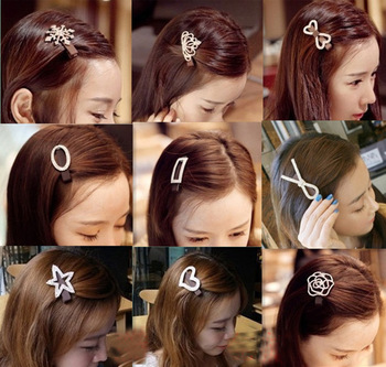 Rhinestone hair accessory bow heart hairpin side-knotted clip bangs clip hair accessory hair bands headband hair pin