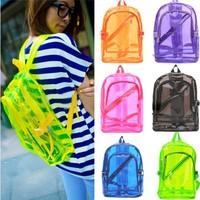 P128 Womens Girl Boy Fashion Transparent Clear Backpack Plastic Student Bag School Book Leisure Shoulder Bags Purse 6 colors