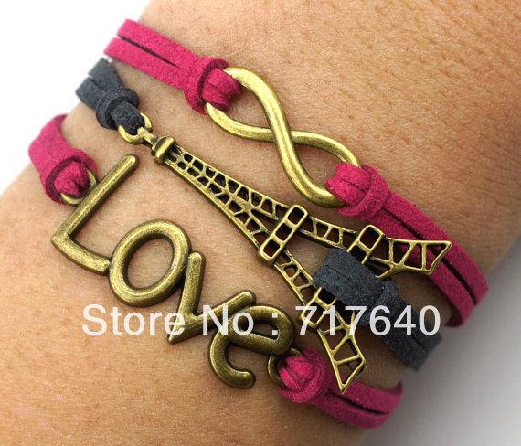 Big Deals! Love Infinity & Eiffel Tower Charms Bracelet Antique Bronze Bracelet Braided Suede Bracelet Adjustable Gift Jewelry(China (Mainland))