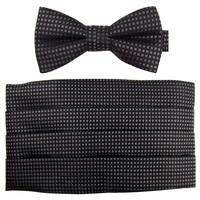 Ifsong black grey plaid elegant male cummerbund bow tie set 016