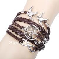 Silver Dove Tree Bracelets Infinity Knitted Leather Bracelets Valentine's day Gifts  Women Bracelet men bracelets