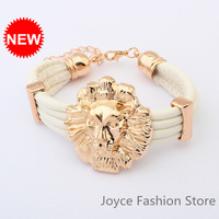 Min Order $10,HOT!Casual Fashion Bracelet,Vintage Candy Color Lion Head Cute Charms Leather Bracelet Bangel,B22