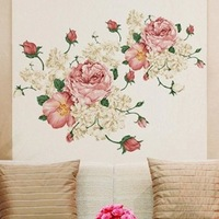 Peony bedroom wall stickers living room TV backdrop stickers 50 * 70cm Wall Decals/Wall Mural PVC Wall sticker Room Decor