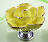 zinc alloy with hand made ceramic yellow rose knobs with gold edge cabinet pull jewellery hook knobs kids dresser knobs MG-18