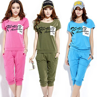 2013 summer slim plus size short-sleeve set casual sportswear set sports set female