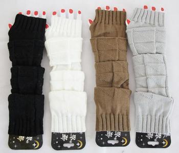 Imixbox Fashion Skin care Fingerless arm Mitten Long Sleeve Gloves women's braided knit crochet wool arm warmer gloves W4187
