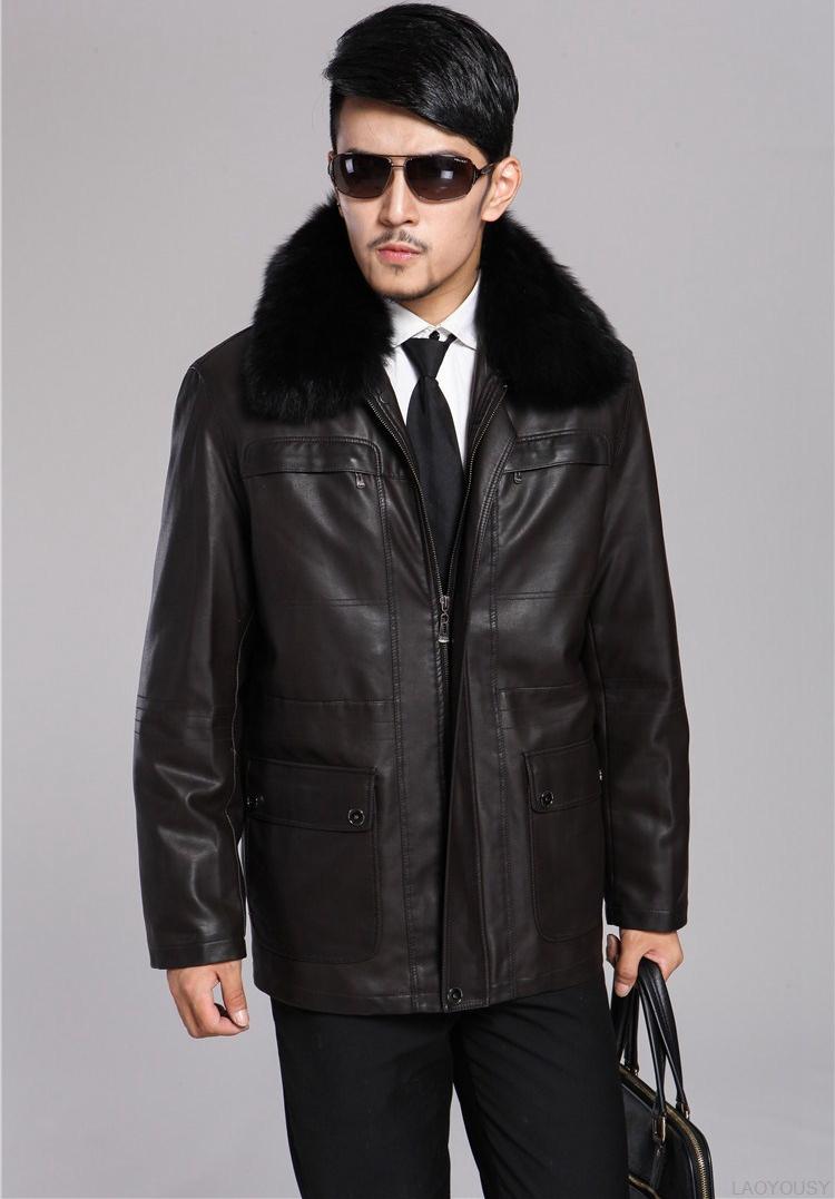 Free shipping 2013 Men's sheep leather jacket ,Genuine Leather Jacket, middle-aged Nick clothing fur coats / M-XXXL(China (Mainland))