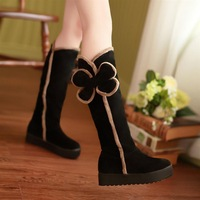 Sweet casual snow boots flat boots platform bow high-leg color block decoration comfortable boots platform boots